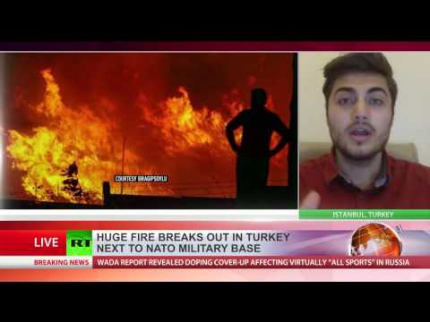 Huge fire breaks out near NATO base in Turkey