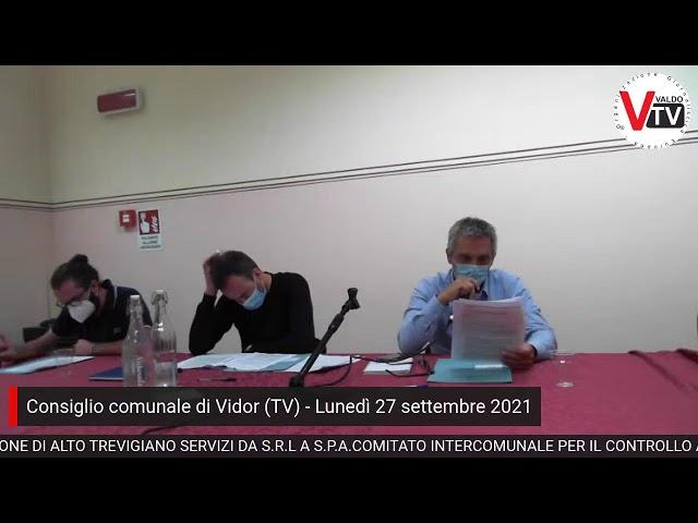 Consiglio comunale di Vidor (TV) di lunedì 27 settembre 2021, ore 20:00