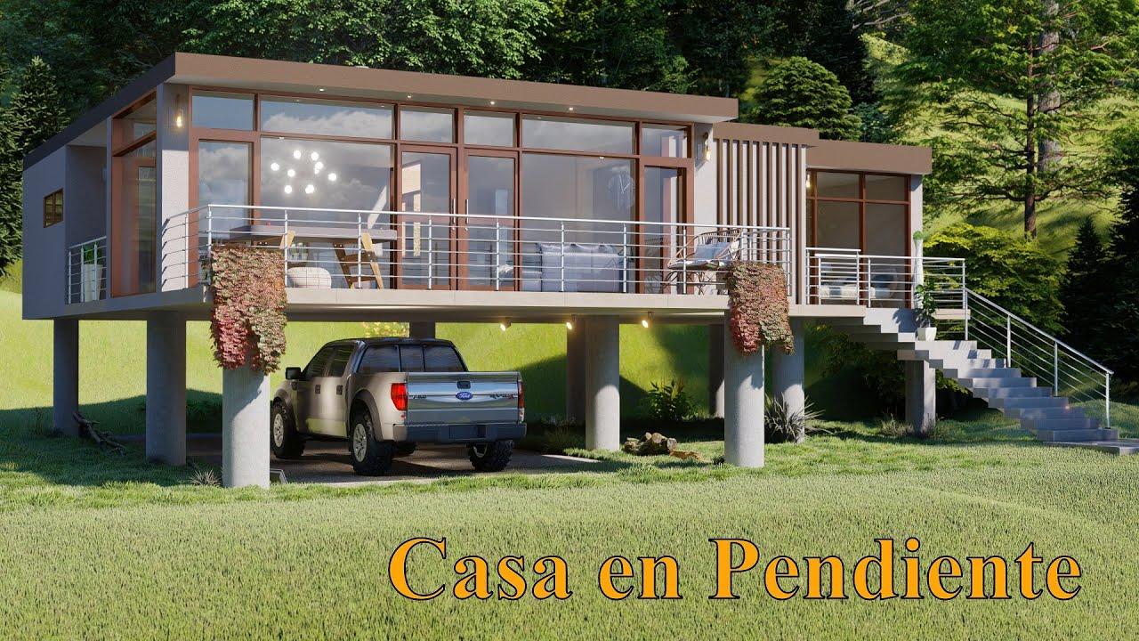 Casa en Desnivel | 17X15 (250 metros) | Vidriada Para Terreno en Pendiente