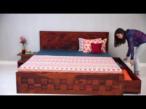 Double Bed Travis Bed With Storage Online In India @ Wooden Street