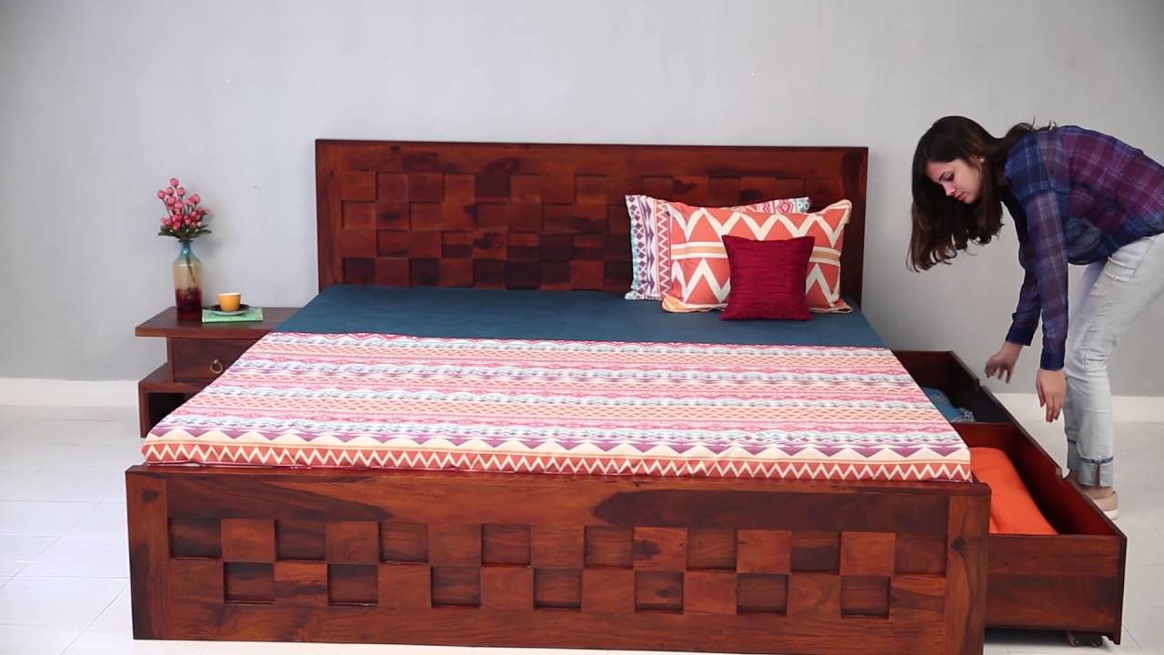 Double bed travis bed with storage online in india for Double bed with box design