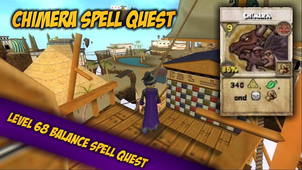 Wizard101 Level 68 Balance Chimera Spell Quest Youtube