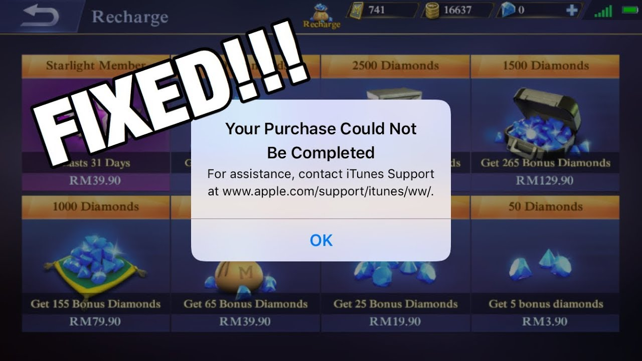 Tutorial Purchase Could Not Be Completed Mobile Legends
