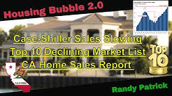 Housing Bubble 2.0 - Case Shiller Sales Slowing - Top 10 Declining Markets - CA Home Sales Report