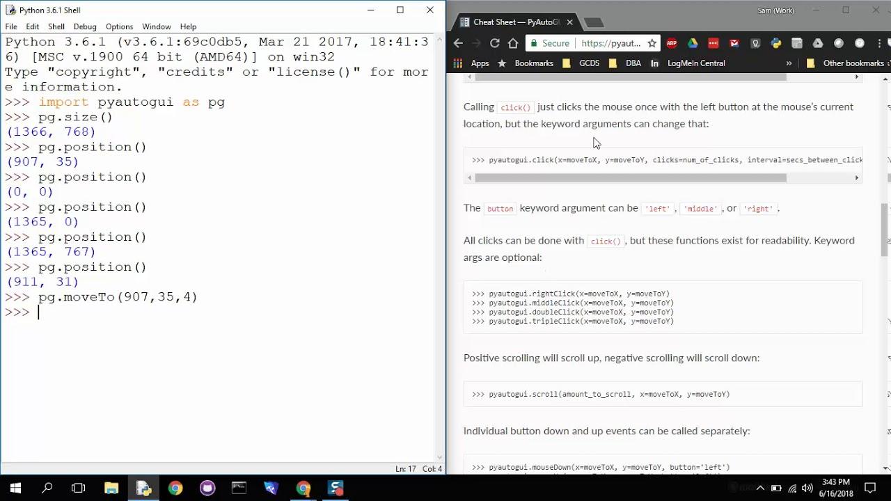 Automation - Mouse Movements & Click - PyAutoGUI & Python 3 6