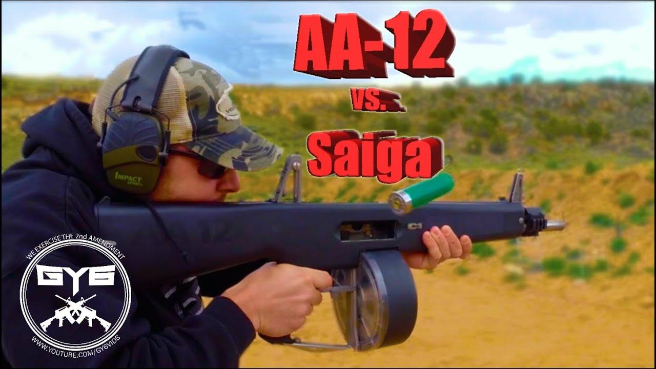 AA-12 vs  Saiga 12 --- FULL AUTO SHOTGUNS