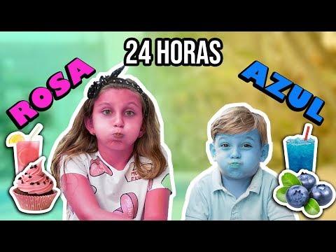 24 horas COMIENDO ROSA y AZUL con mi HERMANO