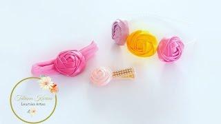 Flor feita com fita cetim by Tatiana Karina