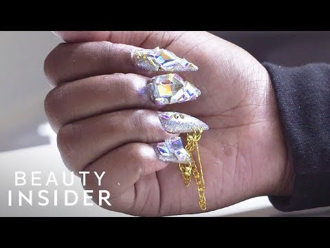 Nail Artist Adds Chains And Crystals To Nails