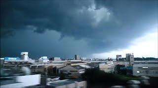 東海道新幹線から見るスーパーセル現象(ノーカット)ゲリラ豪雨・7000回の雷
