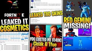 *NEW* Fortnite x IT Leaked Wrap, Emote, Glider! *TBD*, Gemini Red Variant, Tfue & Cloak $140k Fight!