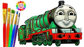 How to DRAW Train Thomas and Friends TRAINS Video for KIDS Coloring Pages HENRY