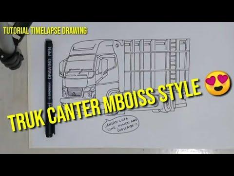 Speed Timelapse Drawing Tutorial Menggambar Truk Canter Youtube
