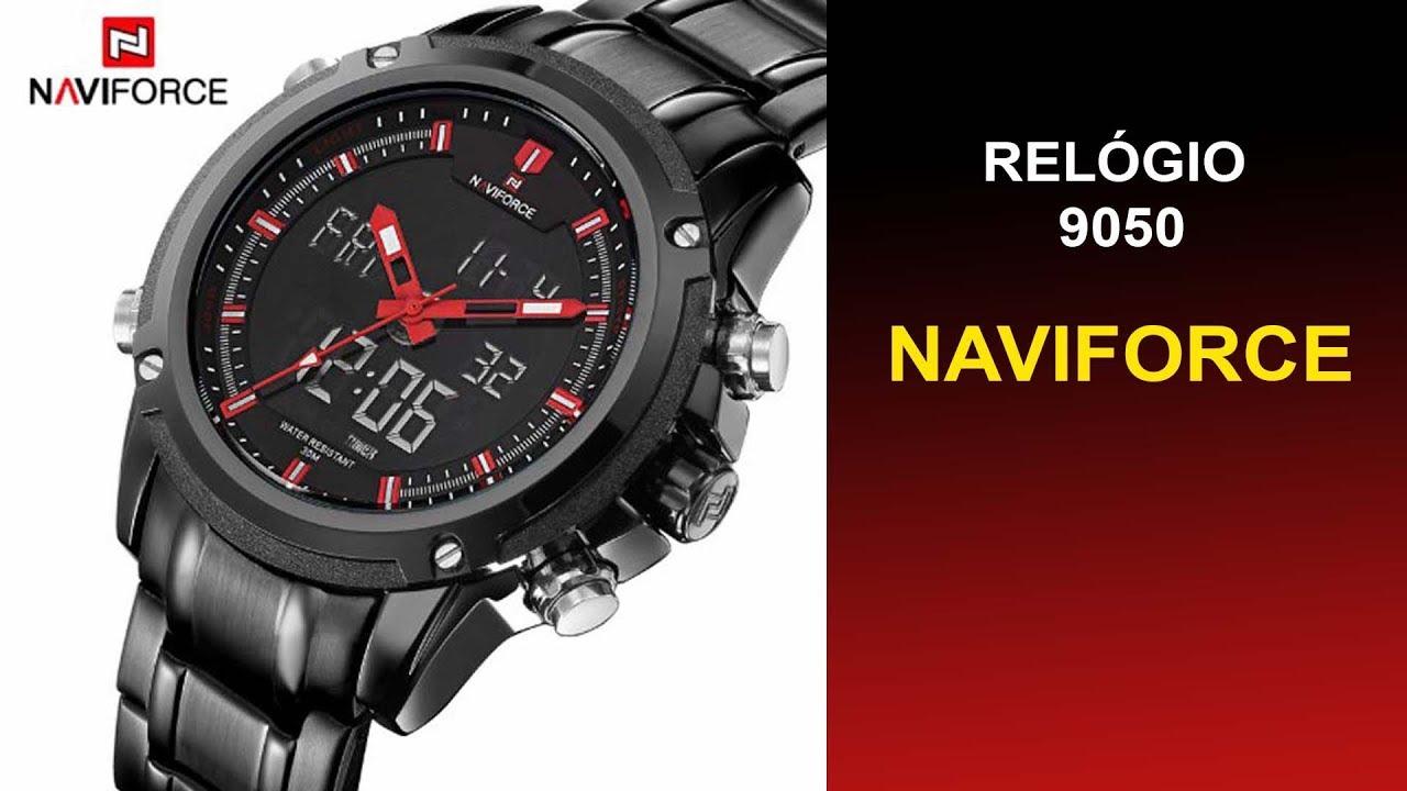 ef46644449e Relógio Masculino Naveforce 9050 Analógico e Digital Esporte Aço Inoxidável