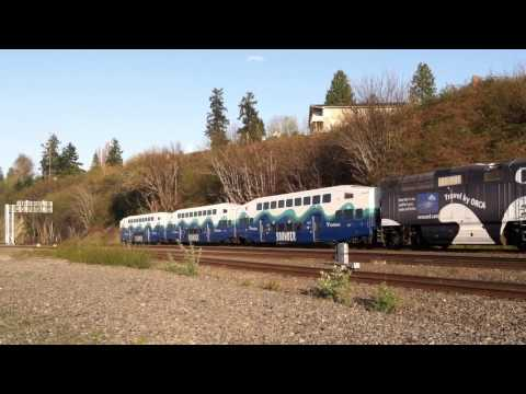 Sounder Train On Mukilteo Railroad Tracks