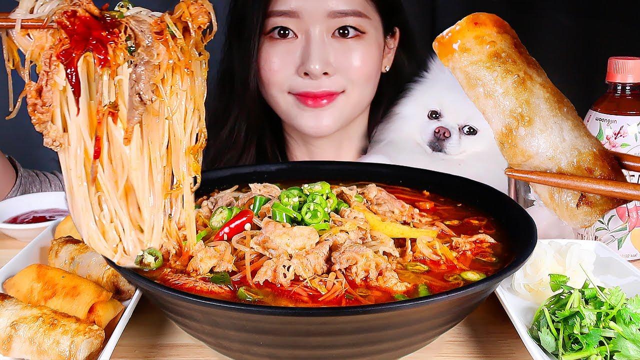 고기 가득 얼큰 매운소고기쌀국수 고기짜조 춘권 먹방   SPICY BEEF CHILI RICE NOODLES ! VIETNAMESE PHO & SPRING ROLLS MUKBANG