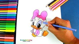 How to draw Baby Daisy Duck | Cómo dibujar a la pata Daisy bebé