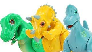 Dino Mecard Talking Egg Tyrannosaurus Triceratops Brachiosaurus Dinosaurus Toys for Kids! | ToyMoon
