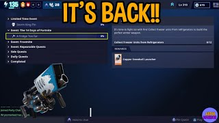 Snowball Launcher Schematic Has Returned!!! How To Collect Freeze Units - Fortnite Save The World