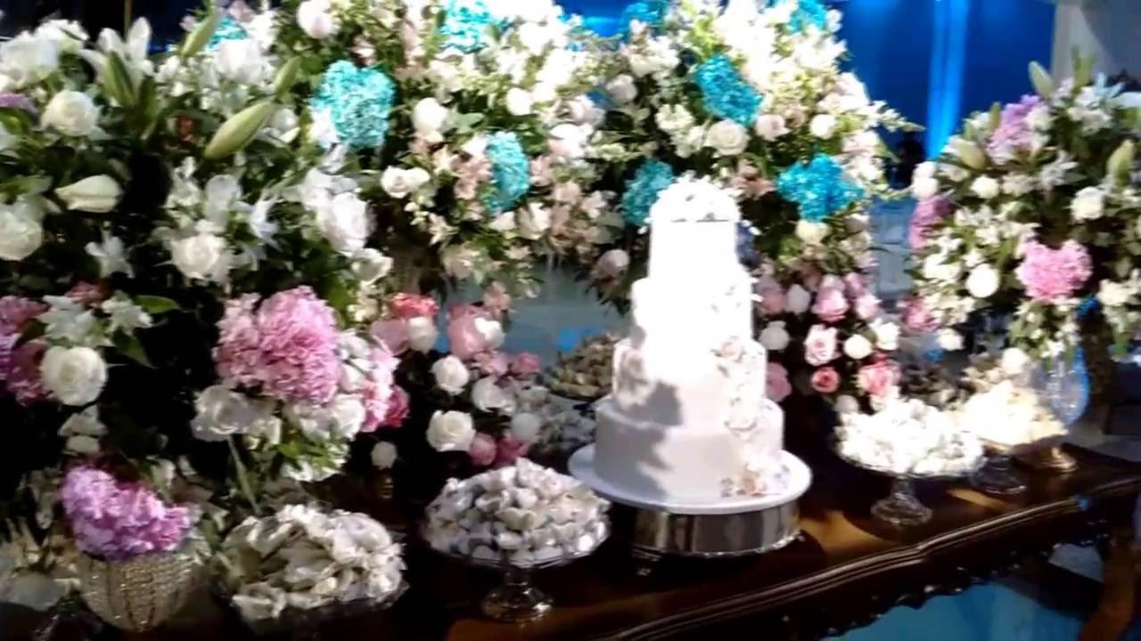 Mesa de bolo completa Decoraç u00e3o de Casamento YouTube -> Decoração De Mesa Do Bolo Para Casamento Simples