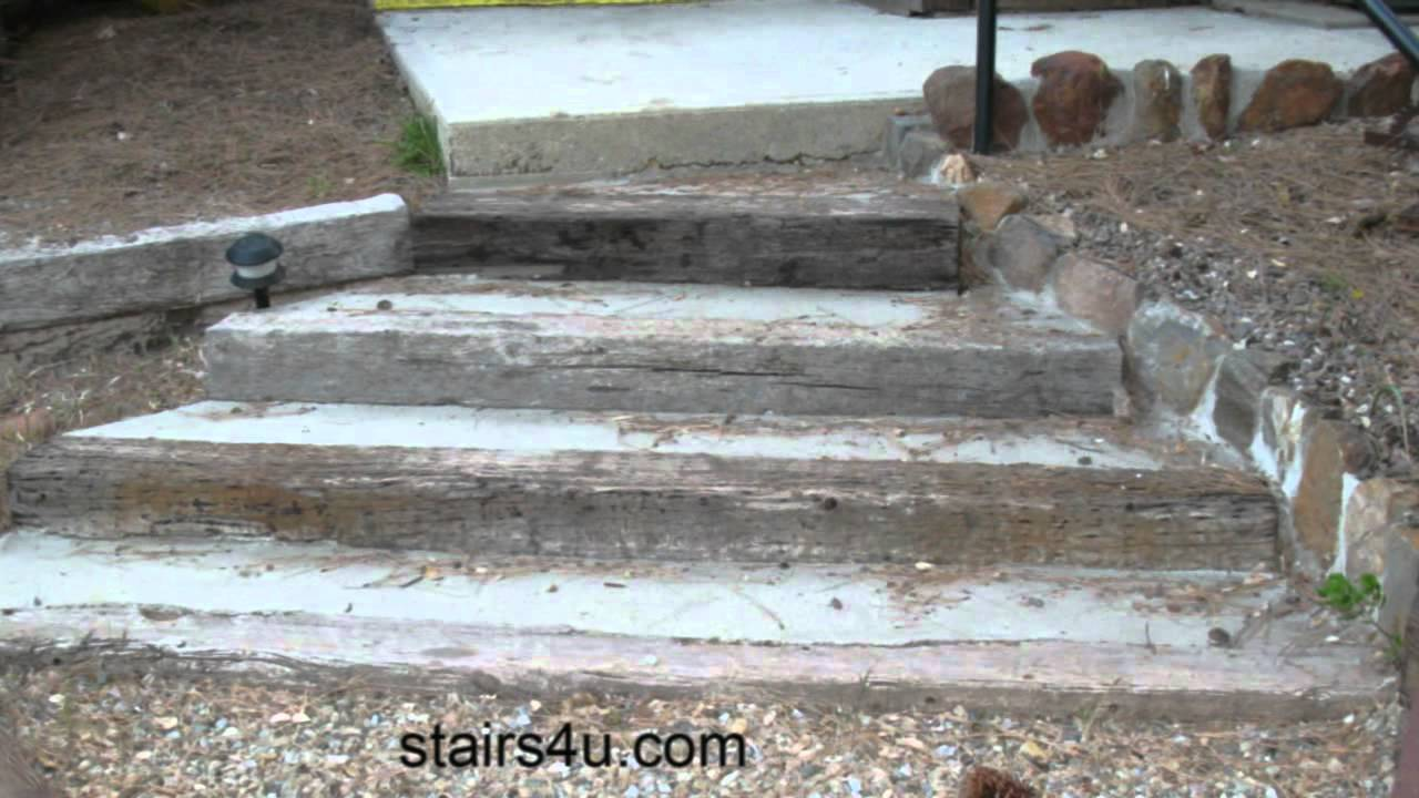 Stairway Built With Concrete And Railroad Ties - Landscaping Ideas ...