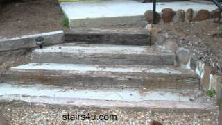 Stairway Built With Concrete And Railroad Ties - Landscaping Ideas