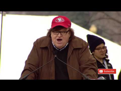 Michael Moore Women's March on Washington Speech Anti Donald Trump Protest Ashley Judd ✔