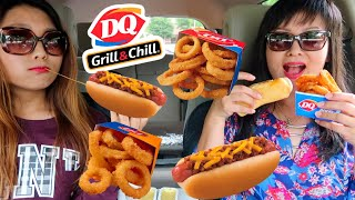 EATING CHEESY CHILI CHEESE DOGS + CRUNCHY ONION RINGS (Dairy Queen MUKBANG EATING SHOW | Kim&Liz Too