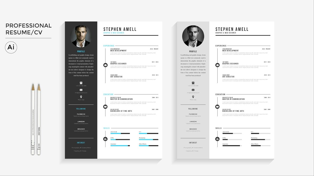 Nice Professional Resume FREE Template Download | Illustrator Speed Art