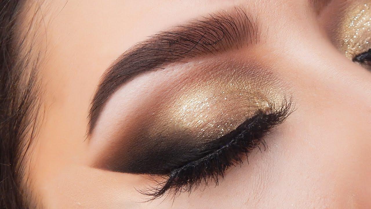 Maquillaje Glam Dorado tipo Smokey Eye