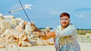 Slicing An Arrow In Half Mid Air In Slow Motion   The Slow Mo Guys