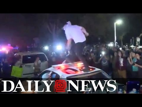 Violent protests erupt outside Trump rally in California