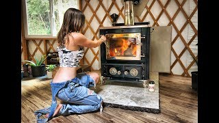 Amazing Off Grid Yurt | Installing a Wood Stove & Chimney - Part 2