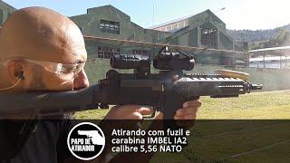 Atirando com fuzil e carabina IMBEL IA2 calibre 5,56 NATO
