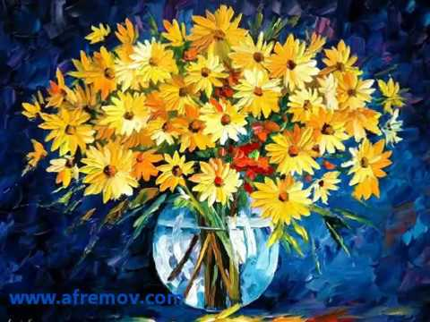 Slide Show Collection of Flowers Painting created by Leonid Afremov with a palette knife