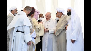Pope Francis attends interreligious meeting at Ur in Iraq