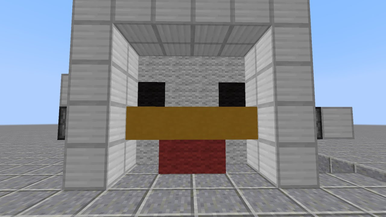 Minecraft Invention 4x4 Chicken Face Door Tutorial