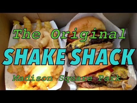 Eating burgers at the original Shake Shack - Madison Square Park, New York City