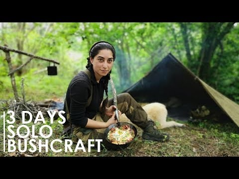3 DAYS BUSHCRAFT OVERNIGHT  RUSSIAN CANVAS TENT, COOKING, ARROW MAKING, etc [Full documentary]