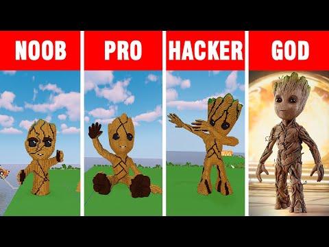 Minecraft NOOB vs PRO vs HACKER vs GOD: LITTLE GROOT BUILD CHALLENGE in Minecraft