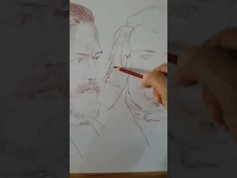 Artist Paul Sleiman working on a portrait sketch. Actor & artist painter, Amchit Lebanon Art Drawing