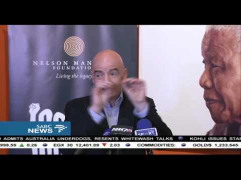 Gianni Infantino addresses the media on his visit to SA