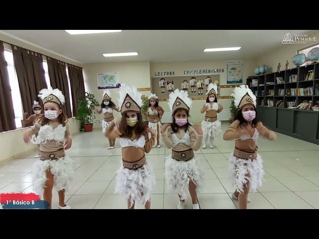 1°B de Pumahue Chicauma realiza su baile en el mes de la patria, representando a Rapa Nui