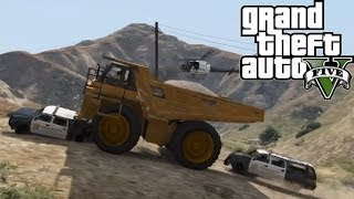 ★ GTA 5 - Outrun 5 Stars in a Dump Truck | Challenge Series Ep. 2