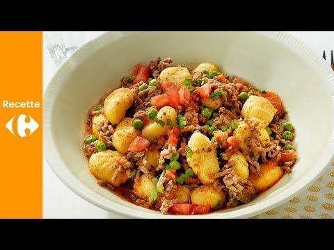 gnocchi-à-la-viande-hachée,-tomates-et-petits-pois