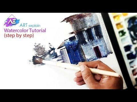 One stroke landscape painting | How to paint a watercolor landscape | Art Explain