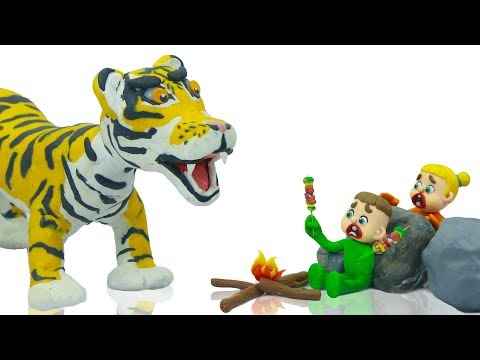 SUPERHERO BABY WILDLIFE TIGER AMAZING SURVIVAL 💖 Play Doh Cartoons For Kids