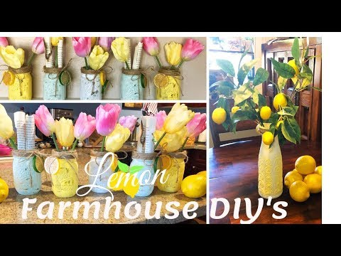 2 Farmhouse Lemon 🍋DIY's Under $10 | Mason Jar DIY | Pitcher DIY | Spring Lemon Series Ep.3