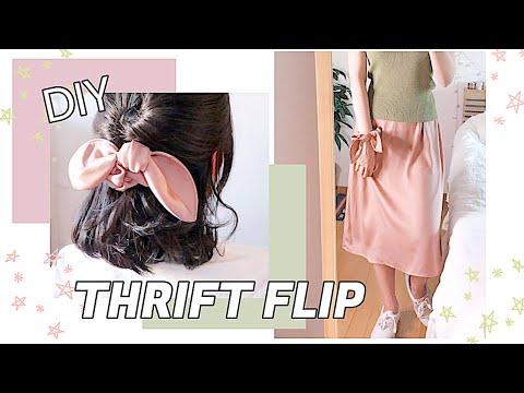 Refashion DIY Midi Skirt and Bow Scrunchie 🌼 THRIFT FLIP REUSE OLD CLOTHES 服リメイク COSTURAㅣmadebyaya