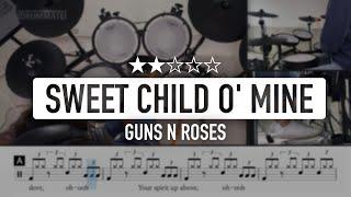 Sweet Child O' Mine - Guns N Roses (★★☆☆☆) Rock Drum Cover, Tutorial